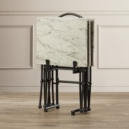Burnside 4 Piece Marble Tray Table Set