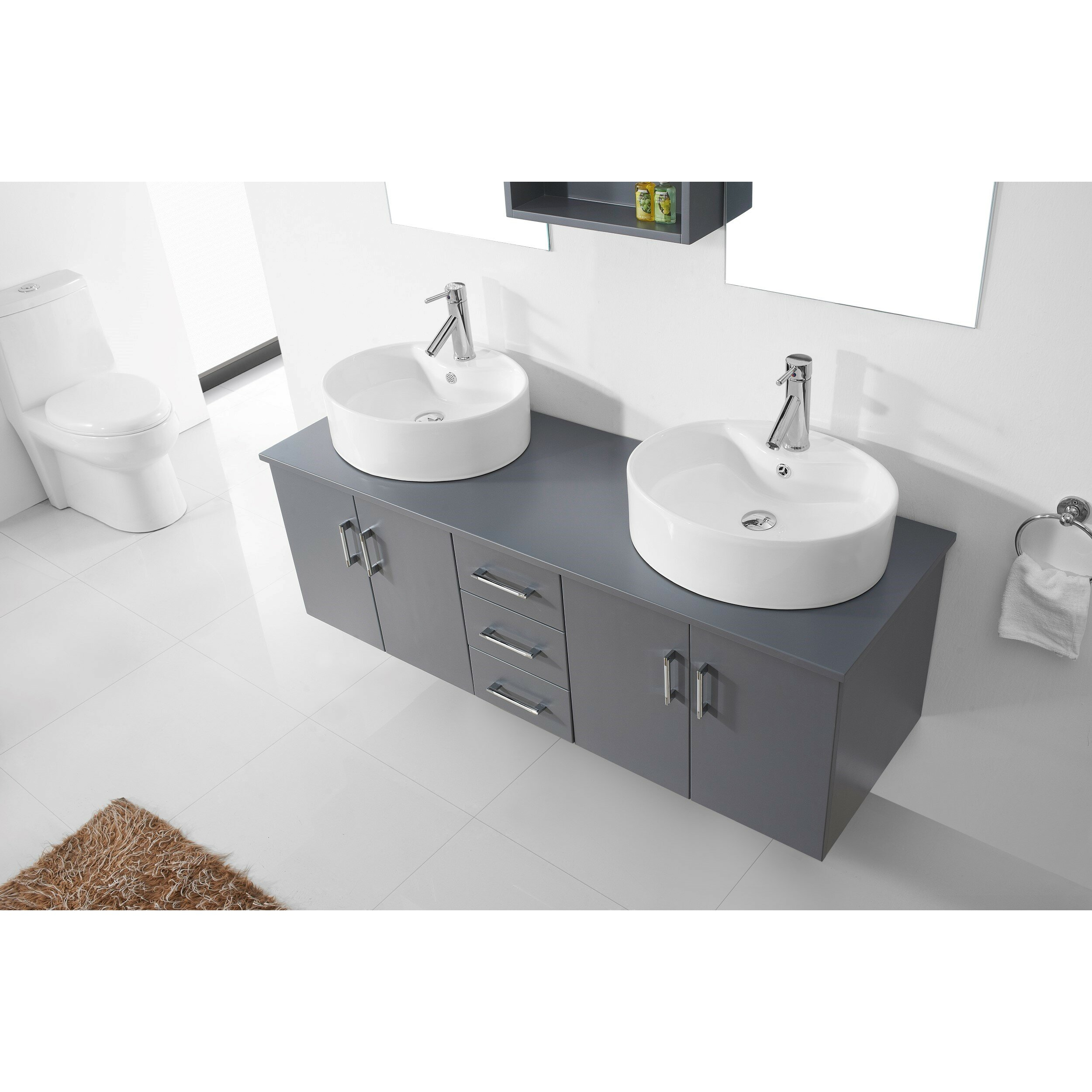 Virtu Enya   Double Bathroom Vanity Set With White Top Mirror