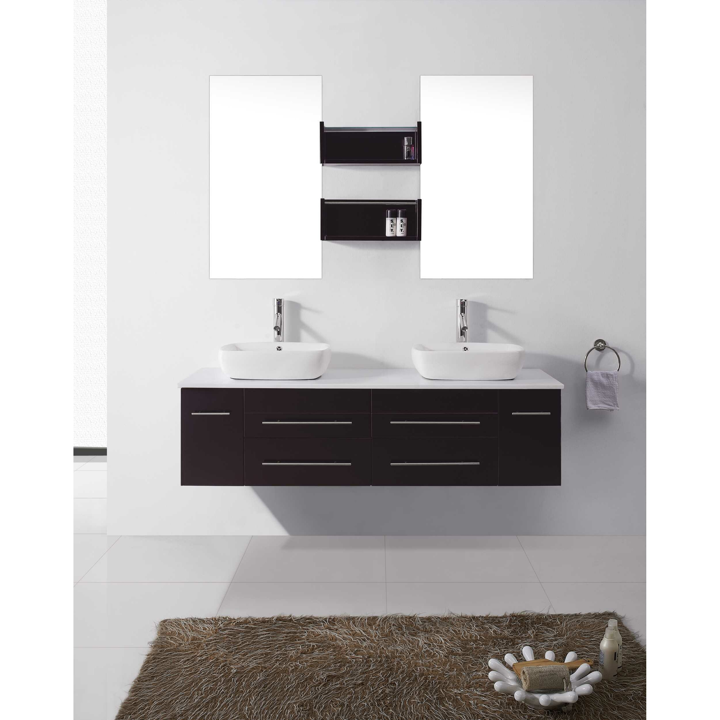 Augustine   Double Bathroom Vanity Set With White Top And Mirror