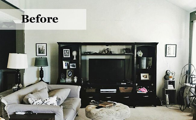 Before After Industrial Living Room Makeover