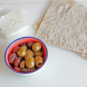 olive, feta, lavash before