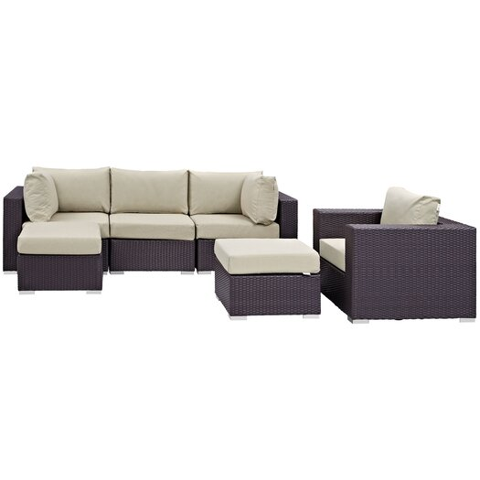 modway convene 6 outdoor patio sectional set with