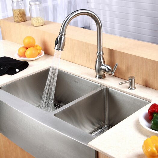 "Kraus Farmhouse 33"" 60 40 Double Bowl Kitchen Sink & Reviews"