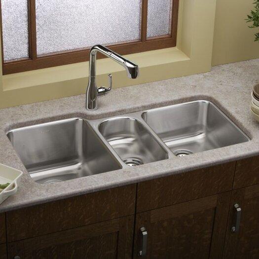 Elkay Lustertone 40 X 20 5 Undermount Triple Bowl Kitchen Sink Reviews Allmodern
