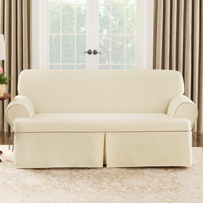 Sure Fit Cotton Duck Sofa T-Cushion Slipcover & Reviews | Wayfair