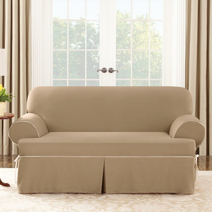 Sure Fit Cotton Duck Sofa T Cushion Slipcover Reviews Wayfair