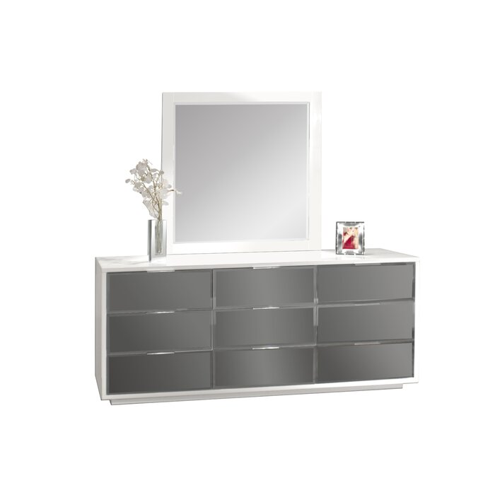 Sharelle Furnishings Mera 9 Drawer Dresser with Mirror