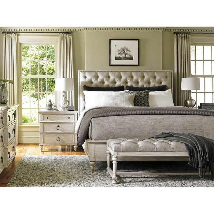 Lexington oyster bay upholstery platform customizable for Bed frame and dresser set