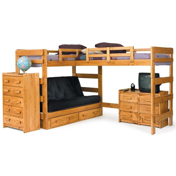 Chelsea home l shaped bunk bed customizable bedroom set for Bedroom l shaped desks