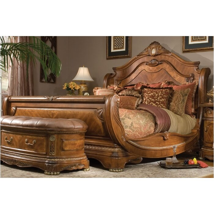 michael amini cortina sleigh bed reviews wayfair. Black Bedroom Furniture Sets. Home Design Ideas