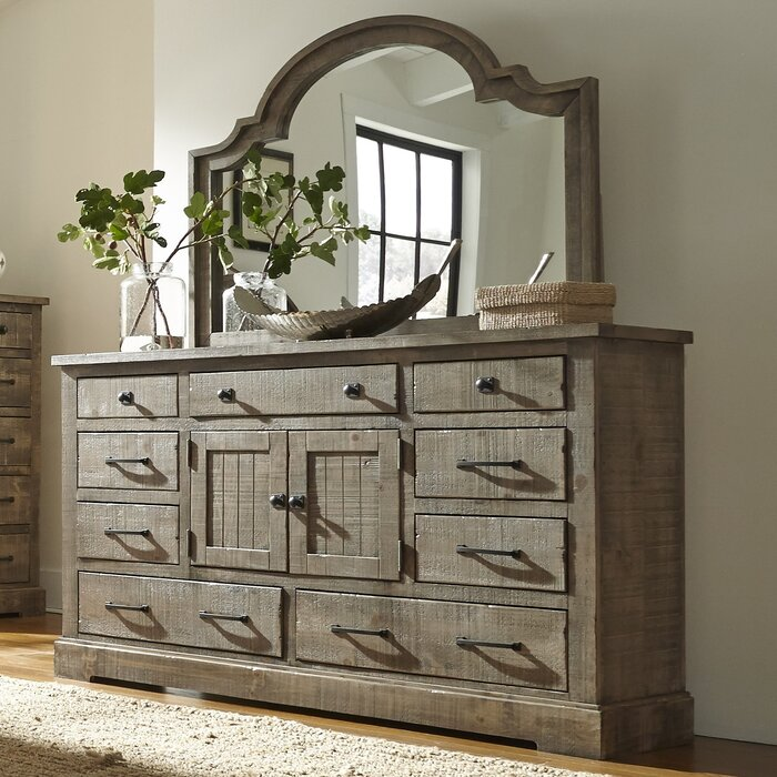 August Grove Burford 9 Drawer Combo Dresser with Mirror