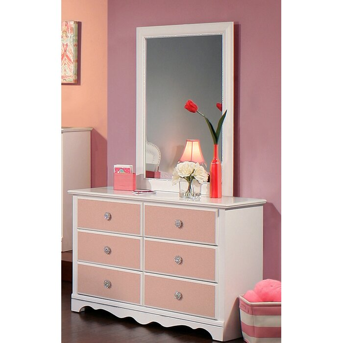 Sandberg Furniture Sabrina 6 Drawer Dresser with Mirror
