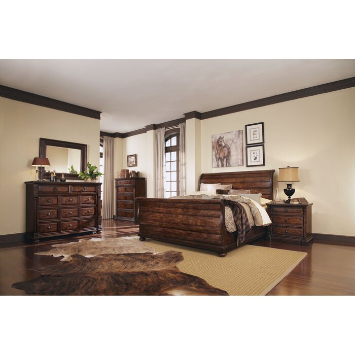 A.R.T. Whiskey Oak Sleigh Customizable Bedroom ..