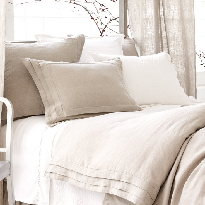 Pine Cone Hill Natural Pleated Linen Duvet Cover