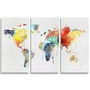 Oliver Gal Mapamundi Watercolor 3 Piece Graphic Art Wrapped on Canvas Set