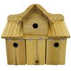 House Additions Triple Solid Wood Wall Mountable Bird House
