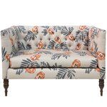bayer mod floral tufted chaise lounge astaire linen chaise lounge
