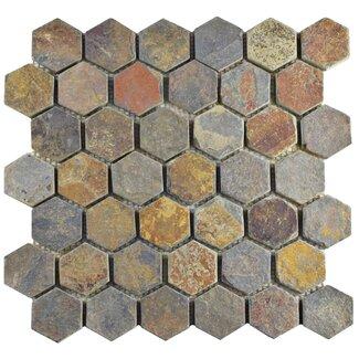 "EliteTile Peak Hexagon 1.88"" x 1.88"" Slate Mosaic Tile in Gray You&..."