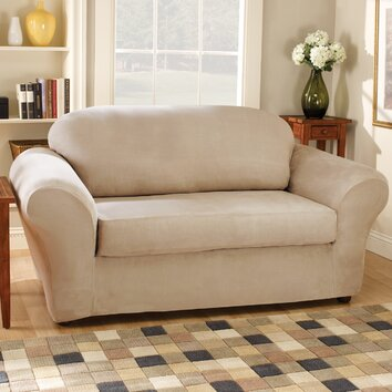 Sure Fit Stretch Suede Separate Seat Loveseat Slipcover
