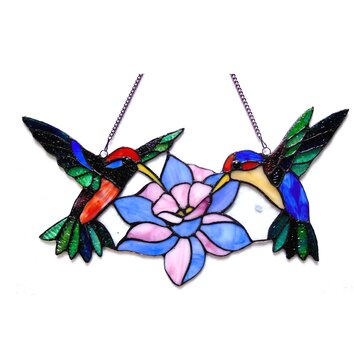 Chloe Lighting Nectar Tiffany Glass Hummingbirds Window