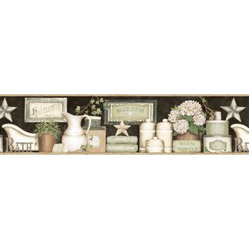 Brewster home fashions countryside martha country bath 15 - Country wallpaper borders for bathrooms ...