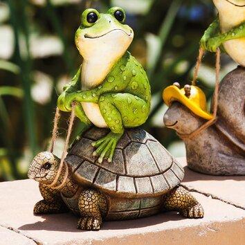 Evergreen Enterprises Inc Riding The Turtle Frog Statue