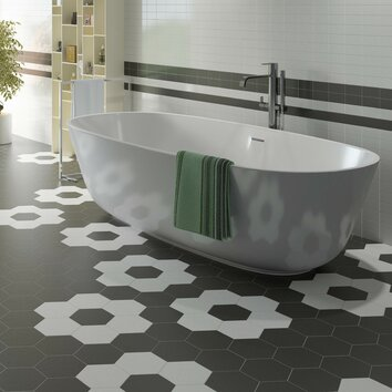 Elitetile hexitile 7 x 8 porcelain field tile in matte for 7x8 bathroom ideas