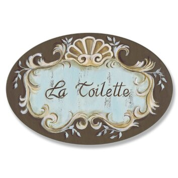 stupell industries la toilette crest top oval bathroom wall plaque reviews wayfair. Black Bedroom Furniture Sets. Home Design Ideas
