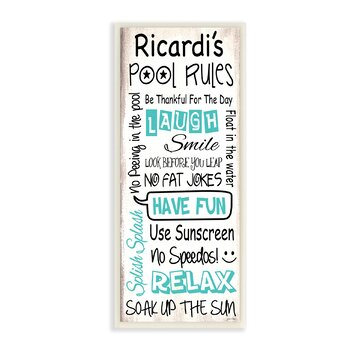 Stupell industries personalized pool rules skinny textual - Rules and regulations of swimming pool ...