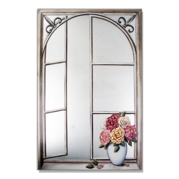mirrors for bathrooms stupell industries wrought iron cabbage faux window 13704