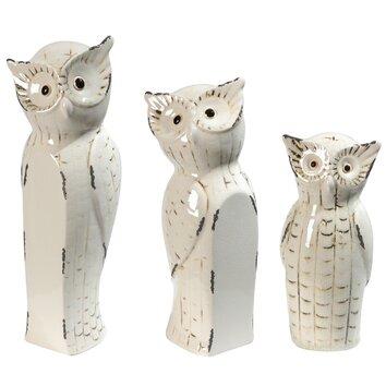 One Allium Way Lorna 3 Piece Owl Family Decor Statue Set