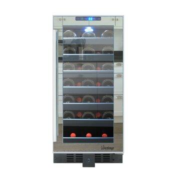 Vinotemp 33 Bottle Single Zone Built In Wine Refrigerator