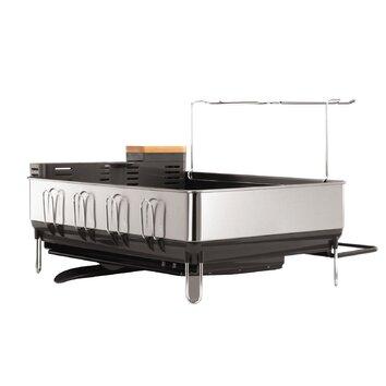 simplehuman steel grey frame dish rack with wine glass