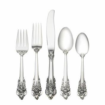Wallace Sterling Silver Grande Baroque 5 Piece Dinner
