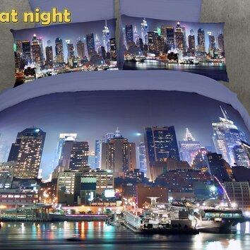 Dolce Mela Dolce Mela NYC at Night 6 Piece Duvet Cover Set