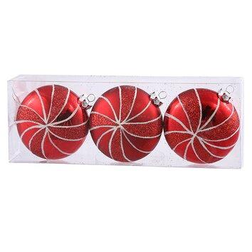 Vickerman 3ct Peppermint Twist Shatterproof Red Candy