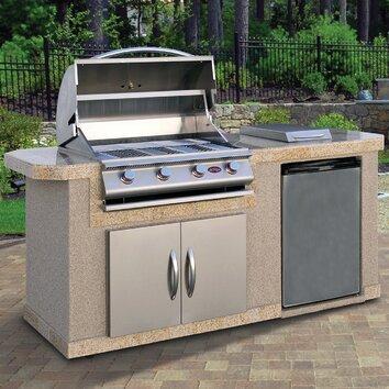Calflame 84 outdoor kitchen islands 4 burner liquid for Drop in grills for outdoor kitchens