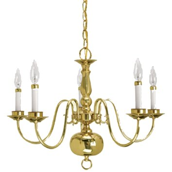 Lamp factory 5 light candle chandelier reviews wayfair for Williamsburg style lighting