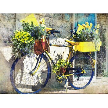 West Of The Wind Blue And Yellow Bike Framed Graphic Art