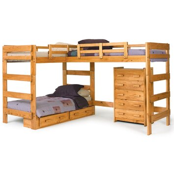 Chelsea Home Twin L Shaped Bunk Bed Customizable Bedroom