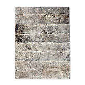 Pure Rugs Patchwork Cowhide Oak Exotic Zebu Gray Area Rug