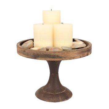 Ckk home d cor lp rustic retreat large pedestal tray for Wallpaper tray home depot