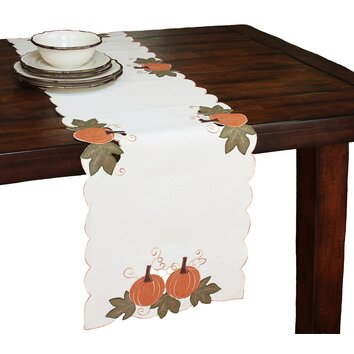 Xia Home Fashions Pumpkin Patch Embroidered Cutwork Linens