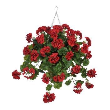 house of silk flowers artificial geranium hanging plant in square basket reviews wayfair. Black Bedroom Furniture Sets. Home Design Ideas