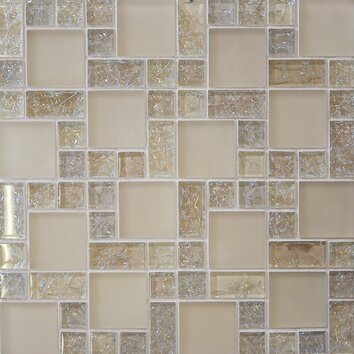 Bedrosians Ice Crackle Random Sized Glass Mosaic Tile In