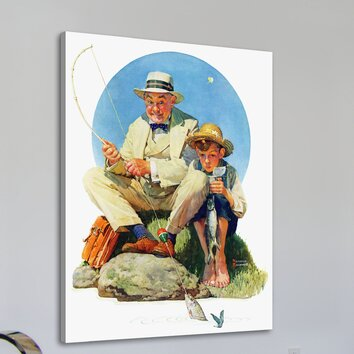 marmont hill catching the big one by norman rockwell With kitchen cabinets lowes with norman rockwell wall art