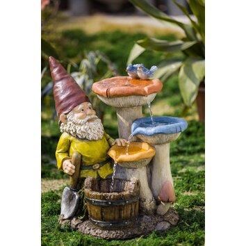 Jeco Inc Polyresin And Fiberglass Gnome Garden Fountain