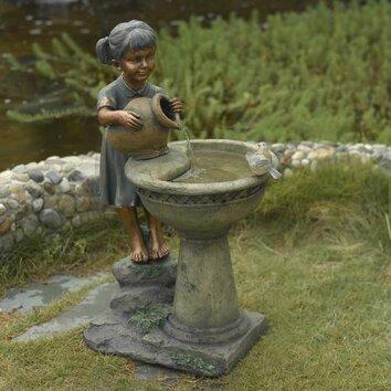 Jeco Inc Versando Bird Bath Outdoor Water Fountain