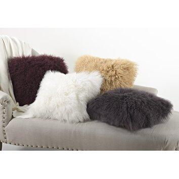 Zipcode Design Becky Mongolian Lamb Fur Wool Throw Pillow