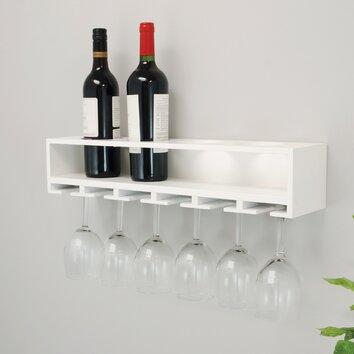 Nexxt Design Wall Mount Claret Wine Bottle And Wine Glass